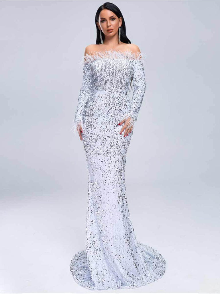 Sexy Off Shoulder Feather Long Sleeve Sequin Maxi Reflective Dress