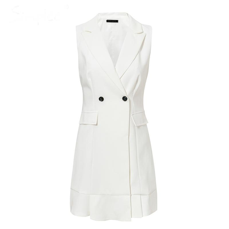 V-neck Ruffle A-line Blazer Dress