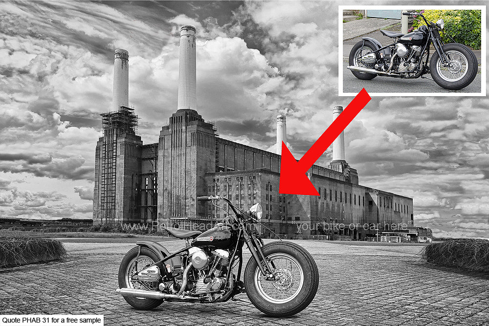 Battersea Power Station Personalised Bike And Car Art Backdrop