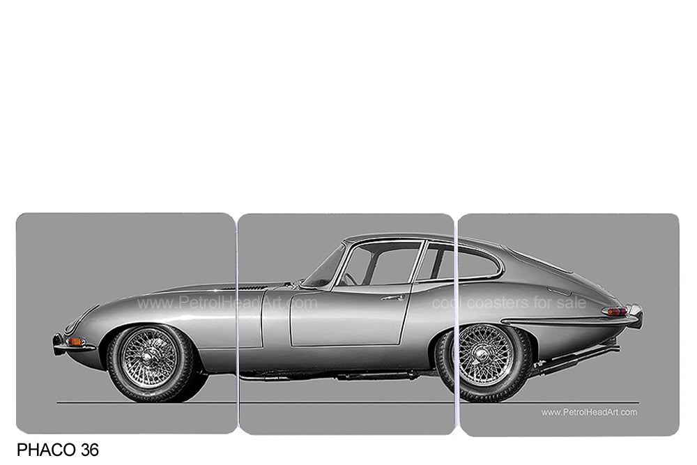Jaguar E-Type Silver Art Coasters