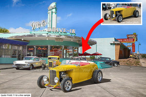 Mel's Diner USA Personalised Bike And Car Art Background