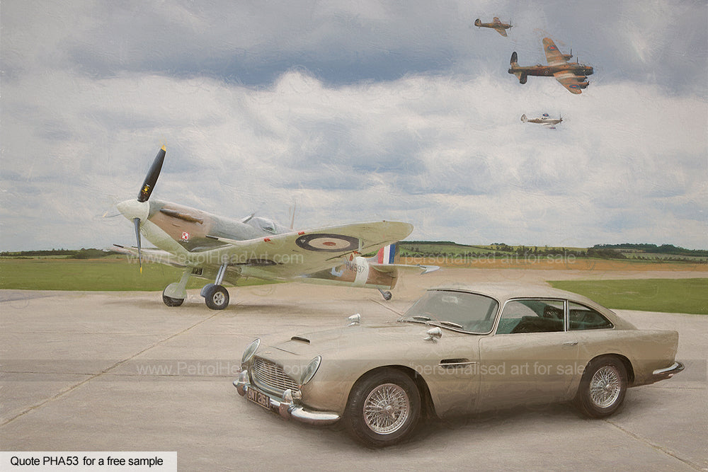 Aston Martin DB5 Art Spitfire Art For Sale