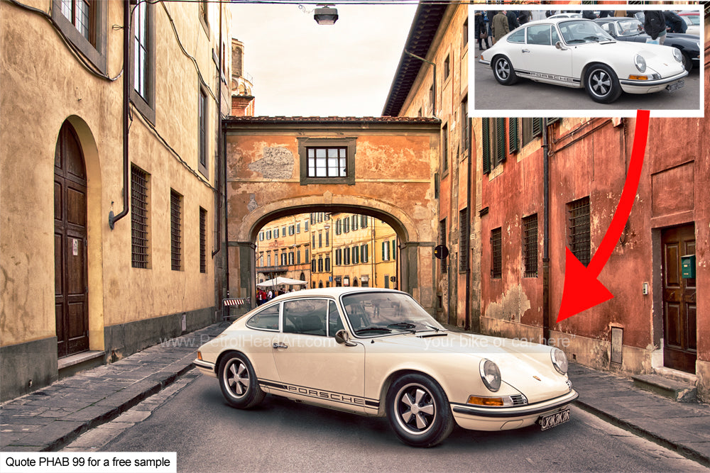 Classic Car Art Archway To Florence Background
