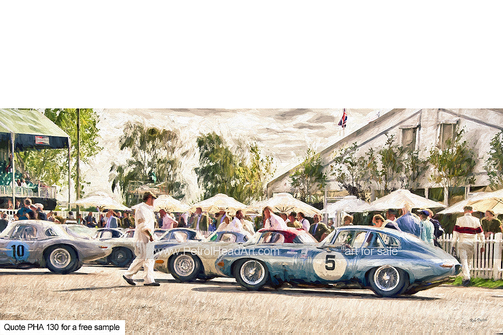 E-Type Art Goodwood Pre Race Art For Sale