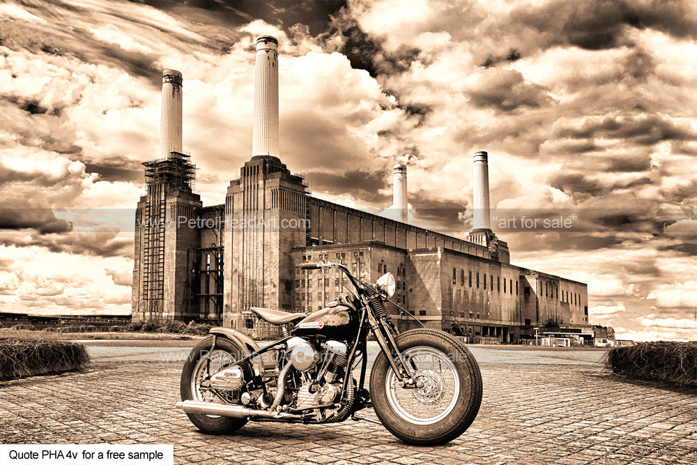 Battersea Power Station Harley Art For Sale