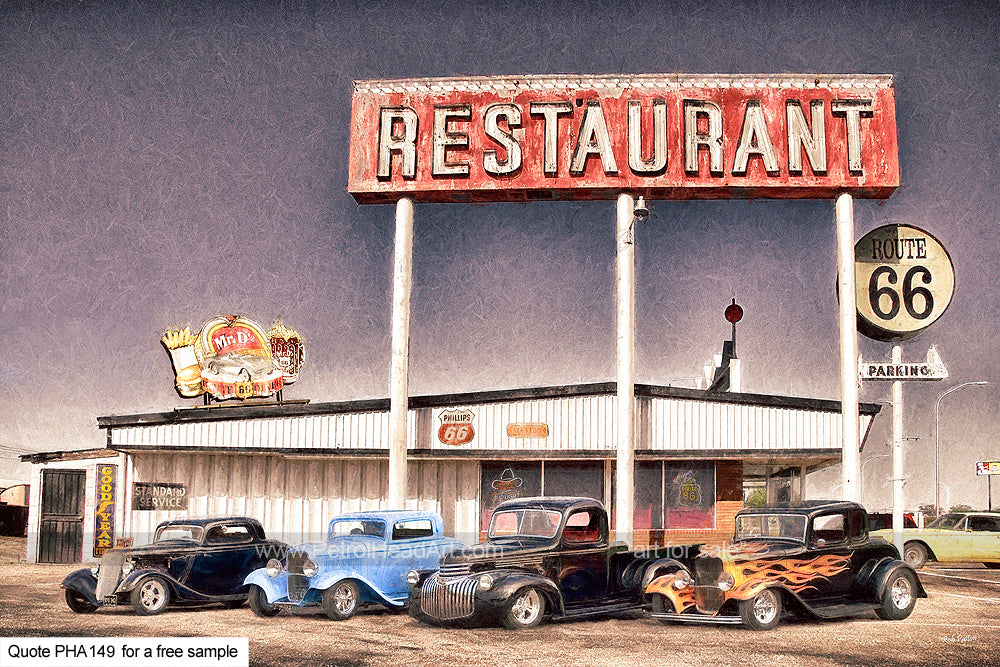 Hotrod Restaurant Art Greetings Card
