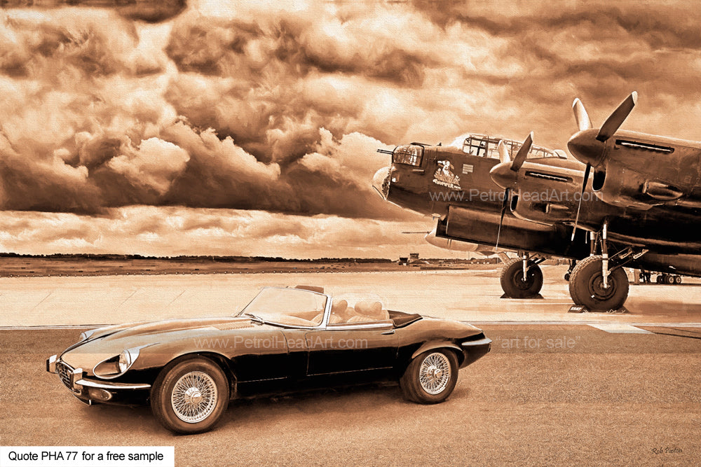 Jaguar E-type And Lancaster Art For Sale