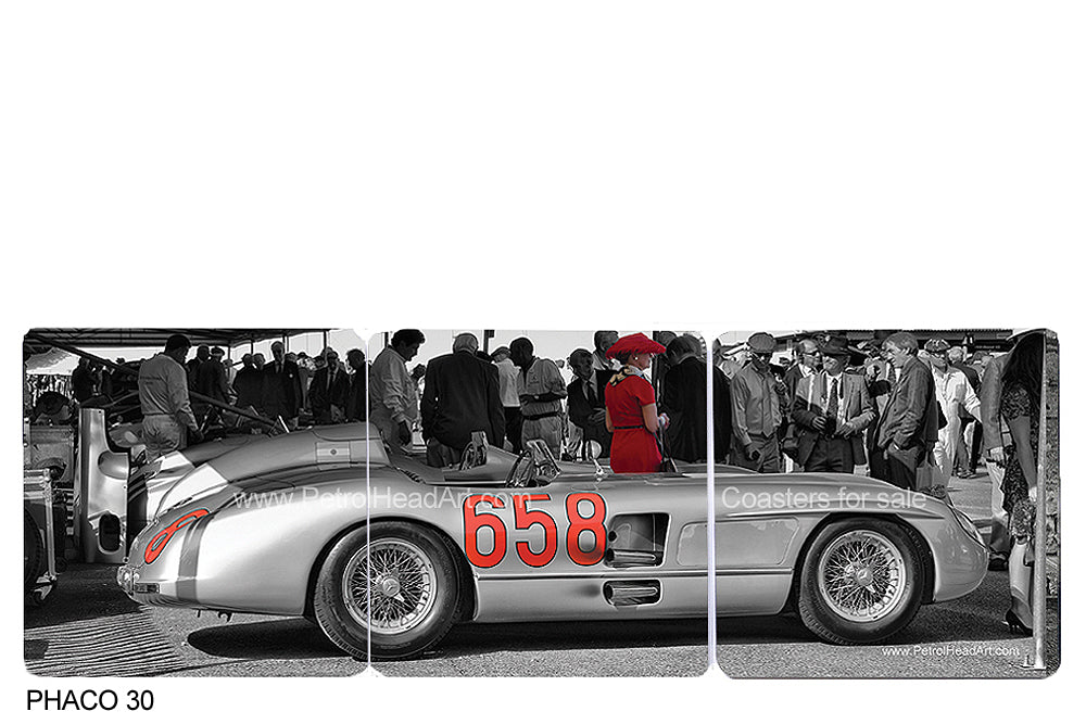 Fangio Mercedes 300 SLR Art Coasters
