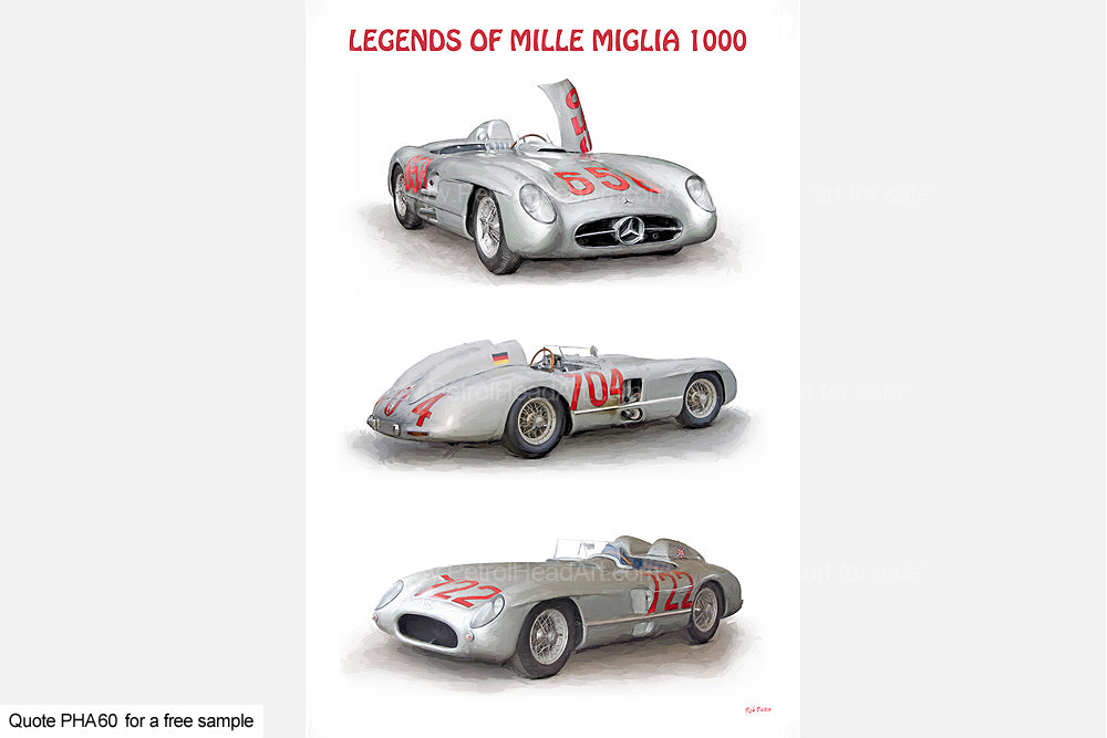 Mercedes Mille Miglia Art Greetings Card