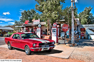 Mustang Art Route 66 Gas Station Art For Sale