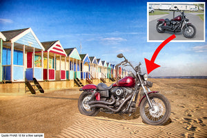 Personalised Beach Hut Art For Your Bike Or Car Background