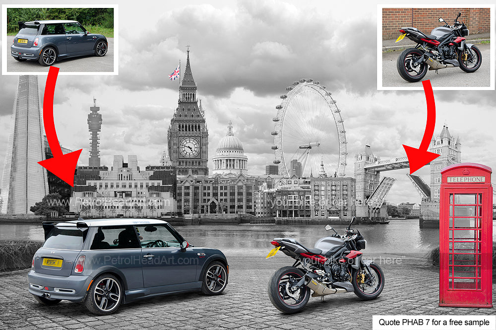 Personalised Bike And Car Art London Background