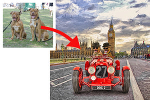 Personalised dog art with cars Big Ben
