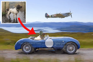 Personalised dog art Racing the Spitfire