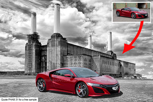 Battersea Power Station Personalised Bike And Car Art Background
