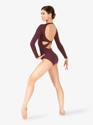BT5177 Twist Back Compression Long Sleeve Leotard