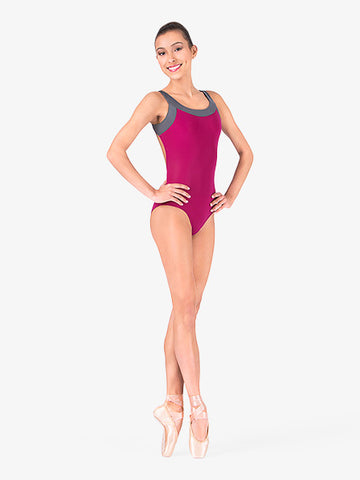 N8437 Tank Leotard With High Double Strap Back