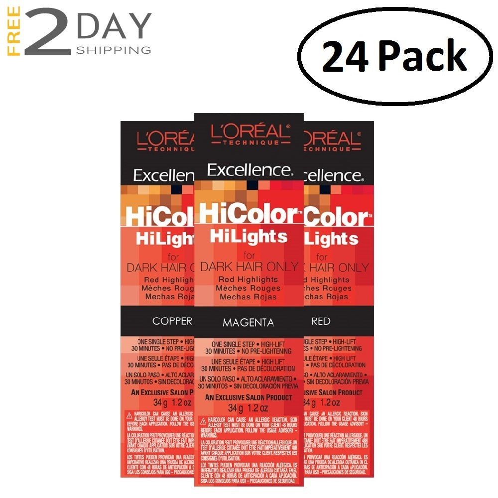 24 Pack L'OREAL Excellence HiColor HiLights Permanent Creme