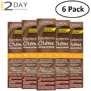 6 Pack L'OREAL Excellence Creme Browns Extreme Permanent Hair Color