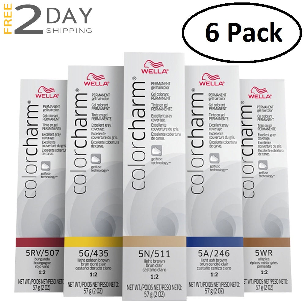 6 Pack WELLA Color Charm Permanent Gel Hair Color