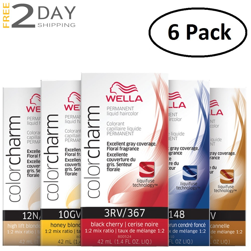 6 Pack WELLA Color Charm Permanent Liquid Hair Color