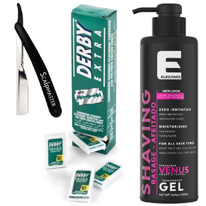 Barber Pack Elegance Shave Gel w/ Razor & Double Edge Derby Blades BB-BARBER6 FREE 2 DAY SHIPPING