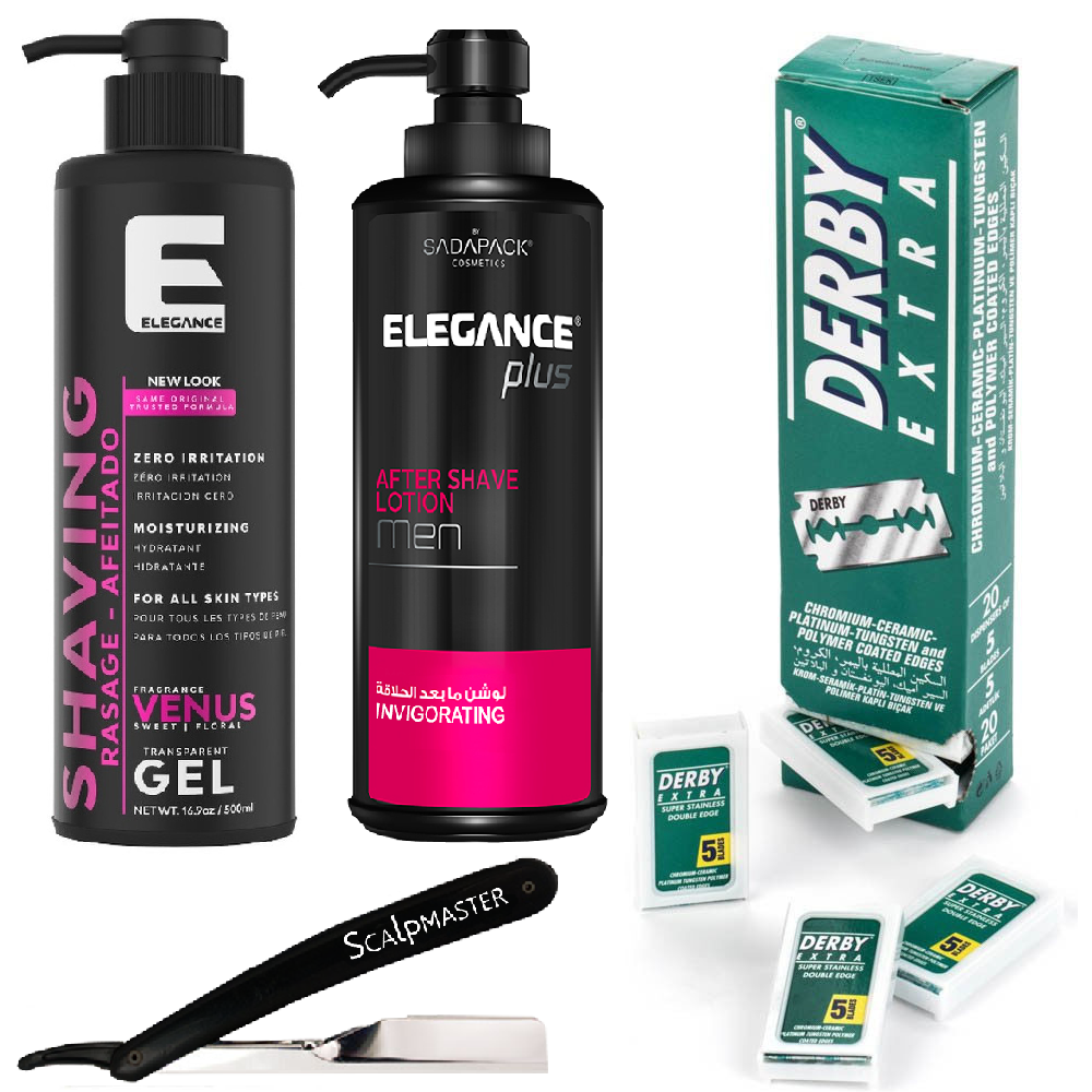 Barber Kit Elegance After Shave & Gel w/ Razor & Double Edge Blades BB-BARBER9 FREE 2 DAY SHIPPING