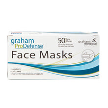 Load image into Gallery viewer, Graham Pro Defense Disposable 3 Ply Face Masks 50 Pack HC-86898