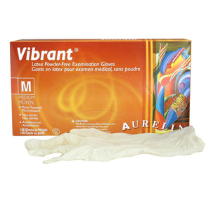 Vibrant Latex Powder Free Examination Gloves 100 Pack MEDIUM - HC-98227