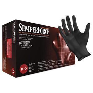 Sempermed SemperForce Nitrile Exam Black Gloves Medium HC-BKNF103