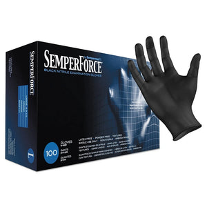 Sempermed SemperForce Nitrile Exam Black Gloves Large HC-BKNF104