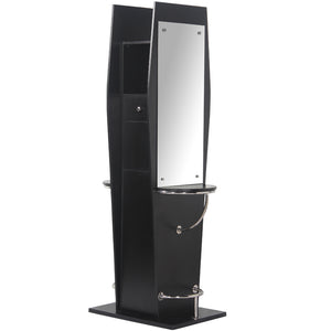 JESSE Pearl Black Double Styling Station with Mirror WS-20BLK