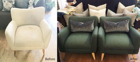 Before and After pictures / Reupholstered 2 chairs