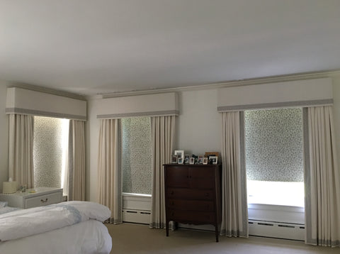 Minimalist Yet Elegant Drapery Panels & Cornices, Adorned with Schumacher Greek Key Trim. Layered with Flat Blackout Roller Shade. Designed by The Client & Fabricated by Curtain Couture.