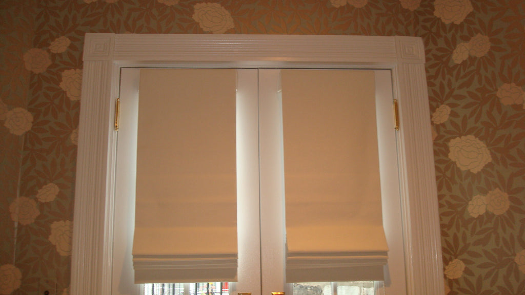 Blackout Roman Shades on French Door - Curtain Couture