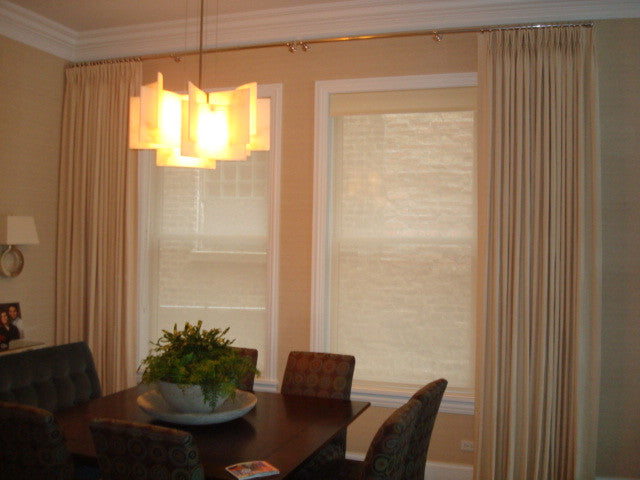 Drapery + sheer roller shades- Curtain Couture & Lisawolfedesign