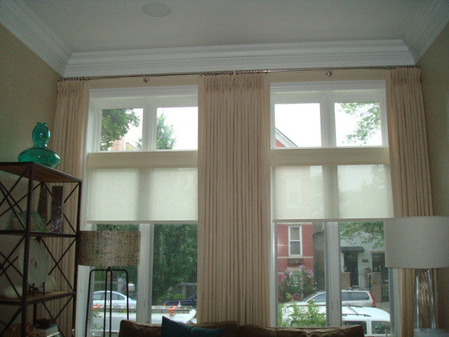 Drapery and sheer roller shades - Curtain Couture & Lisawolfedesigns