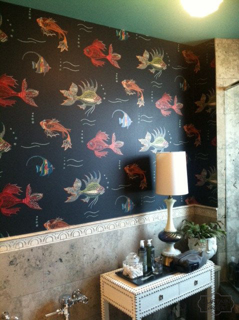 Whimsical & Vibrant Koi Fish Wallpaper from Osborne & Little. Wallpaper Installation by Curtain Couture