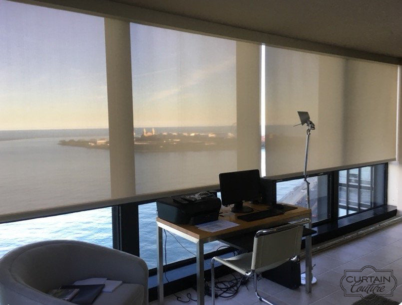 5 % Openness HunterDouglas roller shades installed by Curtain Couture for Lake Side Condo