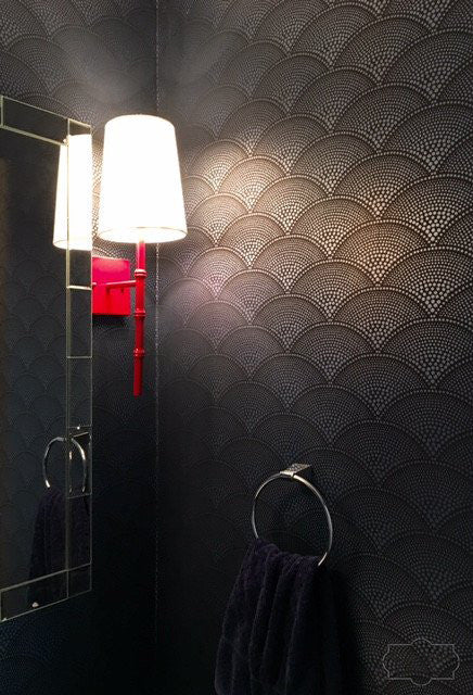 Sultry Dark Seashell Wallpaper in Powder Room. Wallpaper Installation by Curtain Couture.