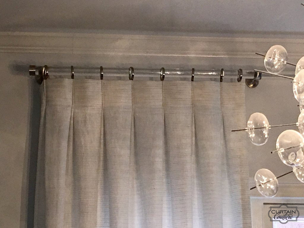 Inverted Pleat Panel On Lucite Rod Curtain Couture