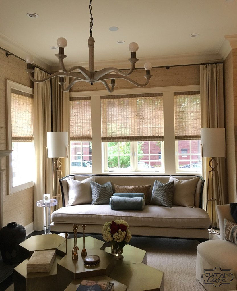 Stationary Panels + HunterDouglas Woven Wood Shade by Anthony Michaels Interiors & Curtain Couture