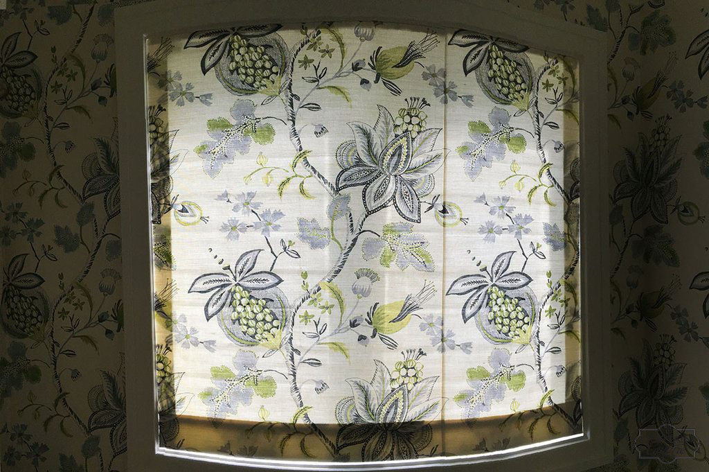 Moderate Light Filtering Roman Shade & Matching Floral Wallpaper