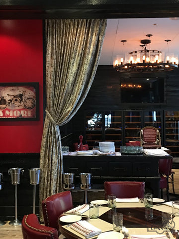 Decorative Panels and black Woodblinds for Mama's Boy restaurant in Downtown Chicago by Karen Santelli Designs & Curtain Couture