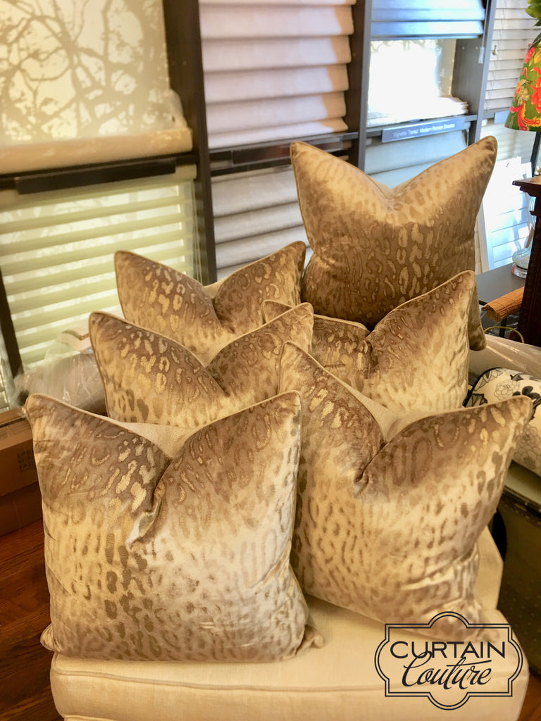 Custom made velvet pillows with down inserts. Fabricated by Curtain Couture.