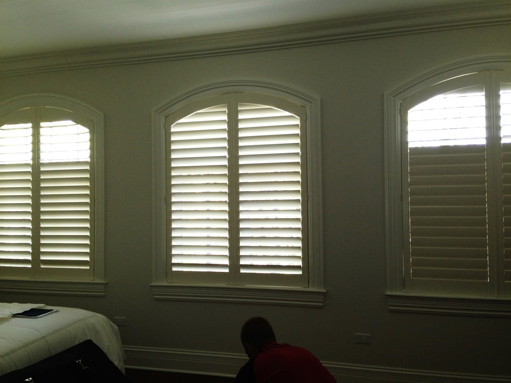 Arch Top Shutters from Norman Shutters - Designed by Curtain Couture