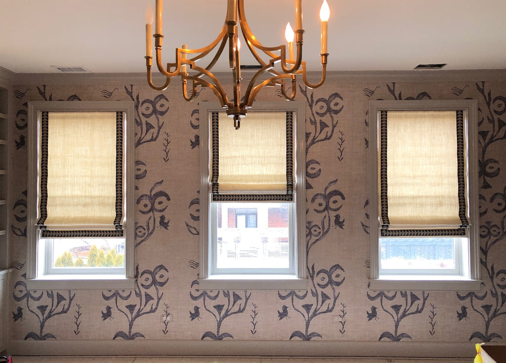 Classic Flat Roman Shade Accents with 3 Sided Decorative Tape Trims.  Fabricated by Curtain Couture.