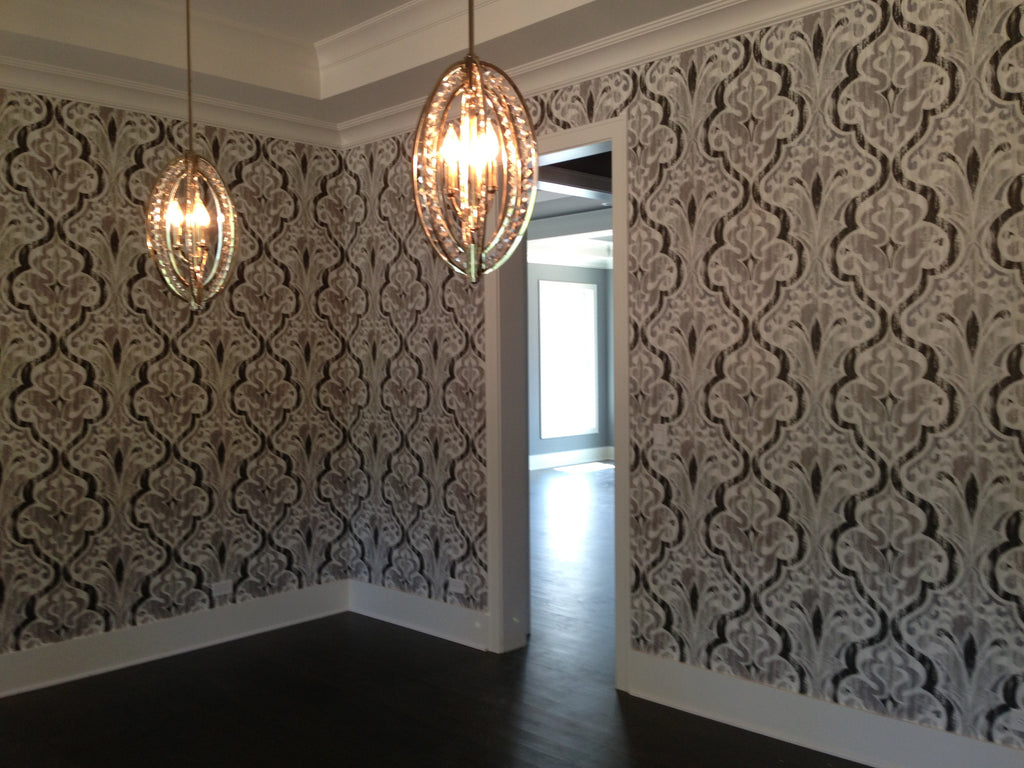 Elegant + Classic Wallpaper from JF Fabrics Accentuates the Room. Wallpaper Installation by Curtain Couture.