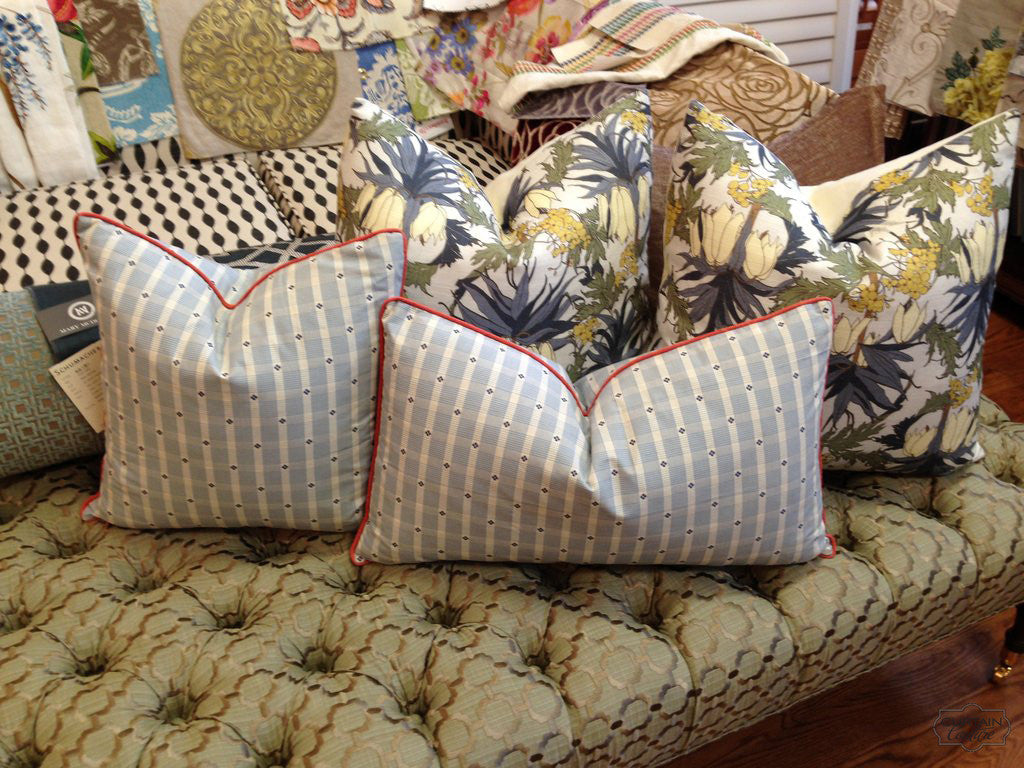 Pillows and Tufted Ottoman