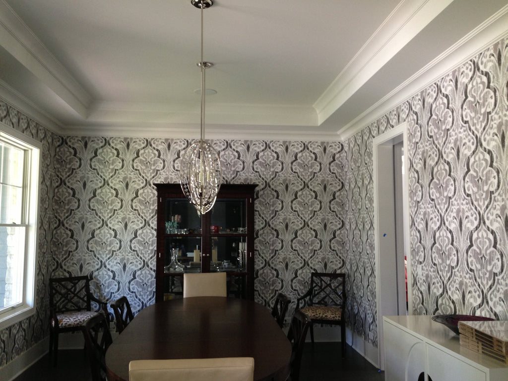 Elegant + Classic Wallpaper from JF Fabrics Accentuates the Dining Room. Wallpaper Installation by Curtain Couture.